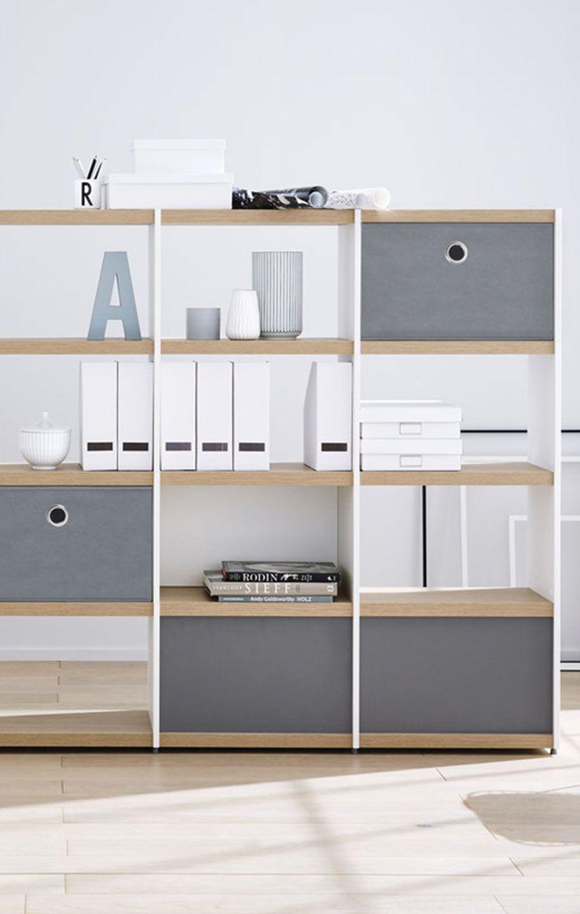 Modernes Bücherregal modernes bücherregal in weiß eiche mit aufbewahrungsboxen in grau