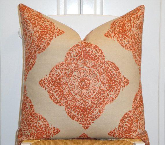 Duralee Fabric Decorative Pillow Cover Woodblock Batik Mani In Impressive Terracotta Decorative Pillows