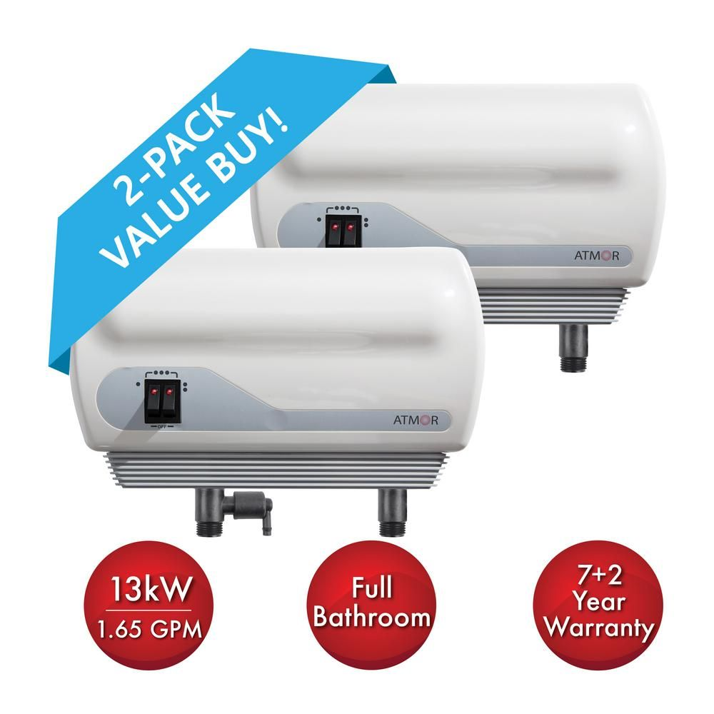 Atmor 13 Kw 240 Volt 2 25 Gpm Electric Tankless Water Heater With Pressure Relief Device On Demand Water Heater 2 Pack At 900 13 2pk Instant Water Heater
