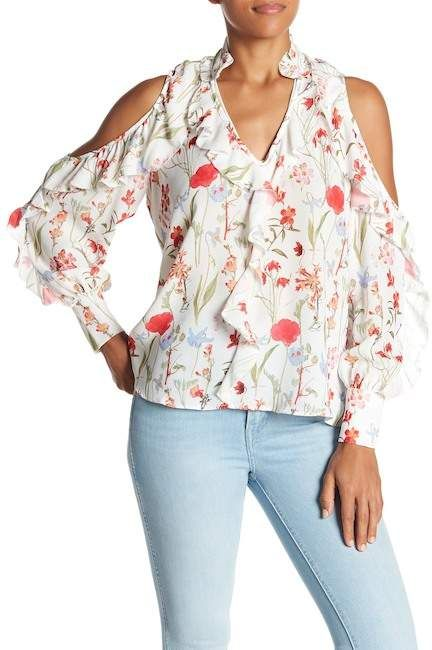 9fb68b9681d82b Parker Floral Print Ruffle Cold Shoulder Blouse Cold Shoulder Tops click  for more information or to
