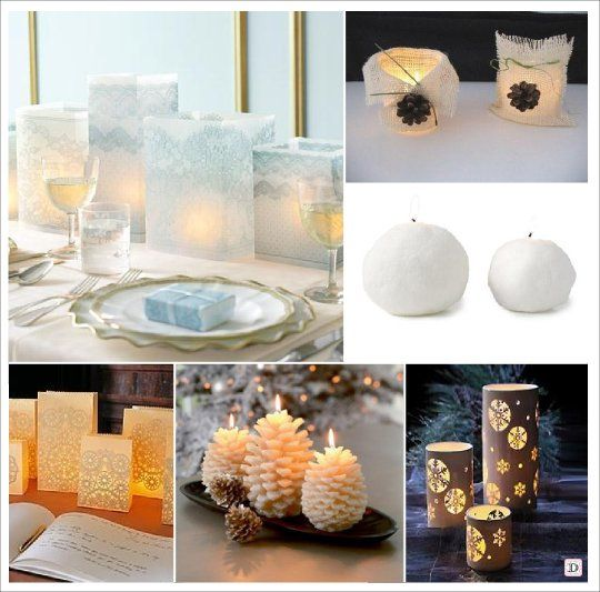 Mariage hiver decoration table centre de table bougie lanternes oui je le veux pinterest for Bougies decoration table