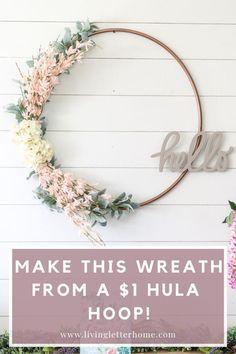 Photo of DIY $ 1 spring wreath from Hula Hoop