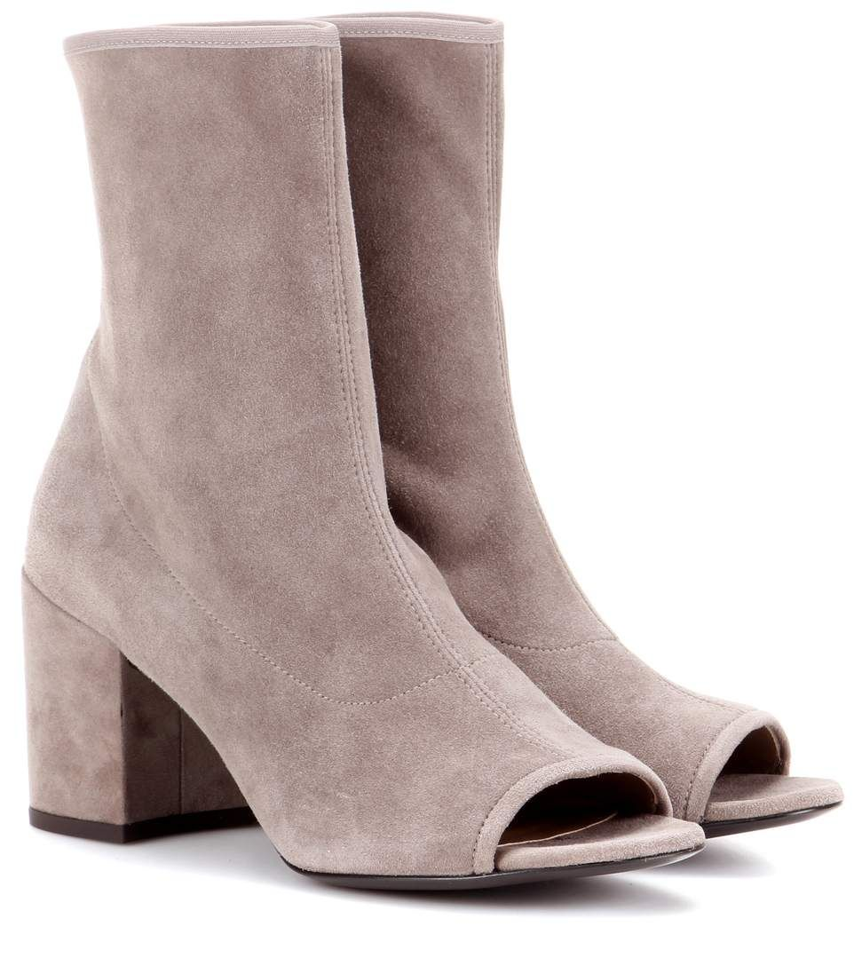 Stuart Weitzman Suede Peep-Toe Boots clearance looking for free shipping best new styles for sale cheap sale best wholesale buy cheap how much N0VAUAZw0R