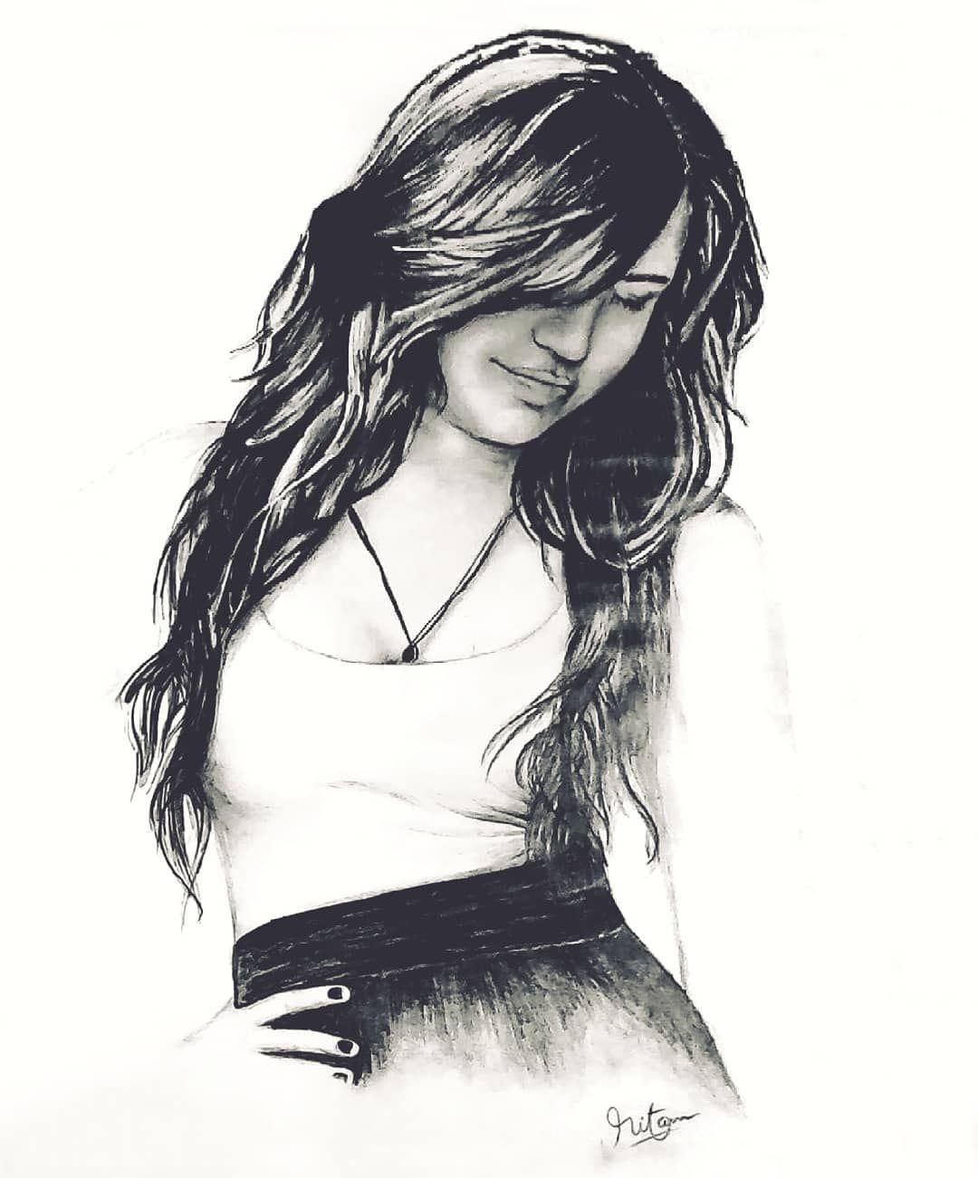 Beautiful girl pencil drawing
