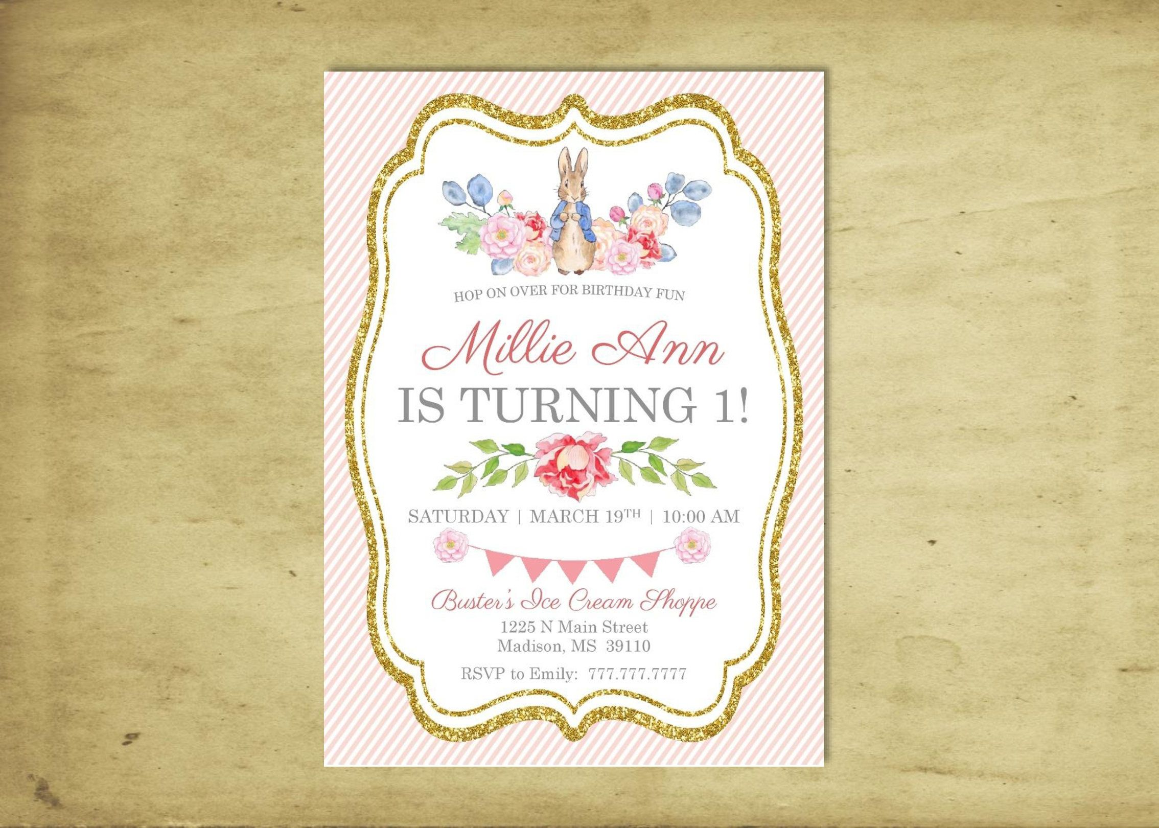 PETER RABBIT Birthday Party Invitation | Beatrix Potter by ...