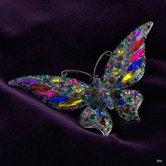 Vintage Rhinestone Butterfly Brooch Pin by TimeFliesVintageShop