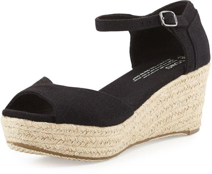 f42365055ac Toms Canvas Platform Wedge Sandal, Black on shopstyle.com.au love ...