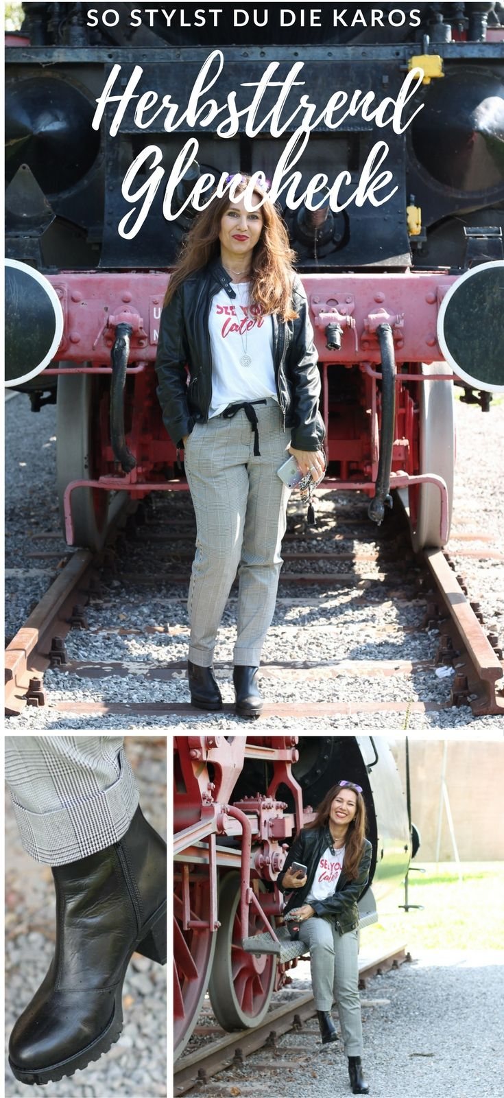 a10ccbc435 So stylst Du die neue Herbstmode mit Glencheck & Co. Lederjacke, Boots und  Glencheck