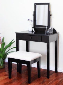 Frenchi Furniture Wood 3 Pc Vanity Set In Espresso Finish Home Kitchen