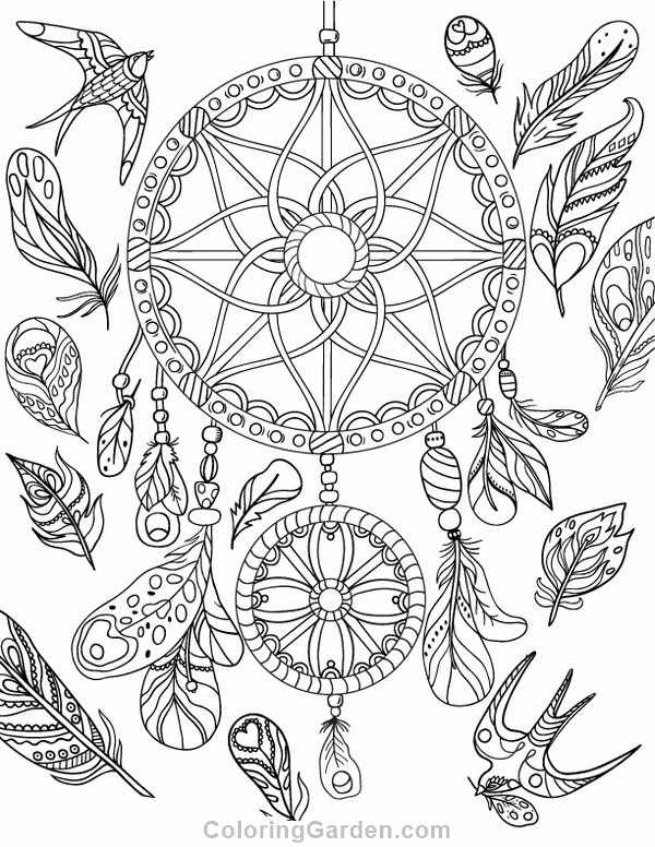 Free printable dreamcatcher adult coloring page. Download it in PDF ...