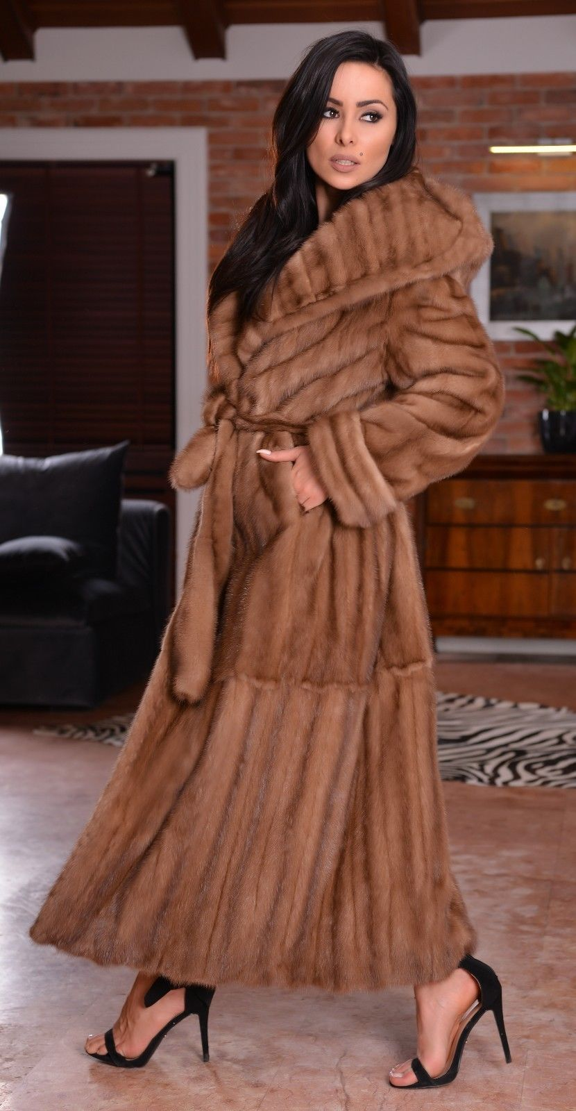 Details about new real lynx fur long coat clas russian