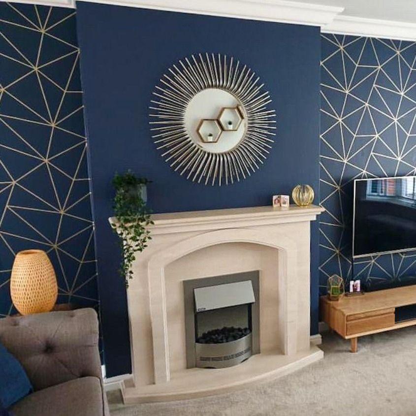 Zara Shimmer Metallic Wallpaper Navy Gold Blue Living Room Decor Navy Living Room Decor Blue Feature Wall Living Room Bedroom wallpaper ideas navy
