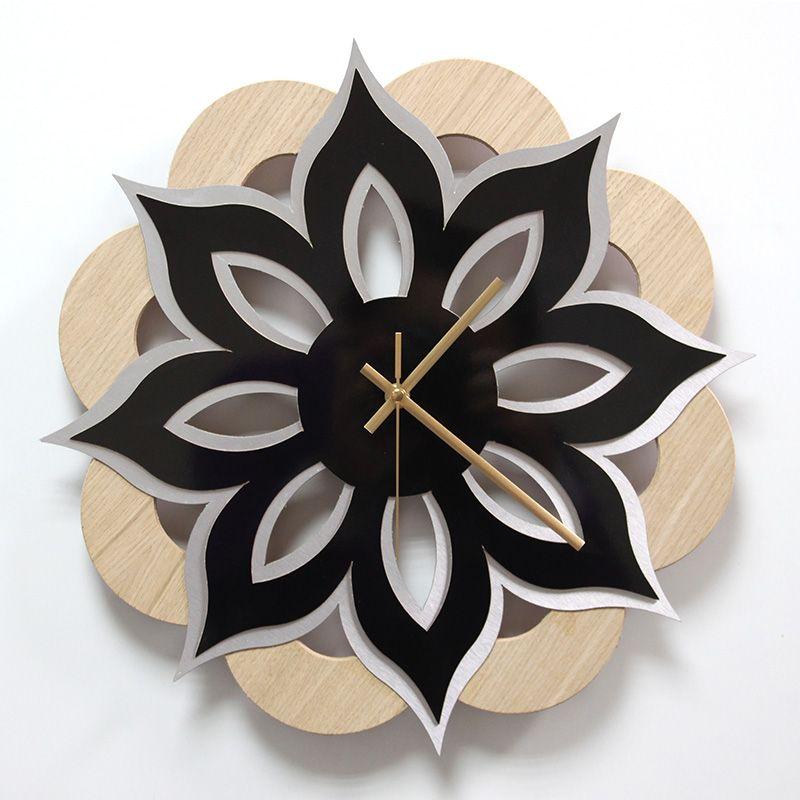 Reloj de pared madera laminada roble lamina decorativa - Reloj pared madera ...
