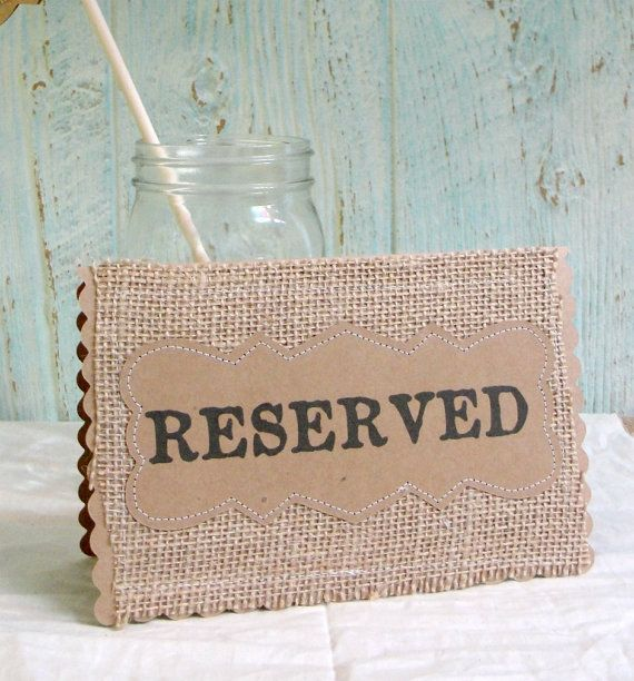 Wedding Table Cards RESERVED Place Holder, Set of 3 Burlap Kraft Rustic Country Woodland Table Signs