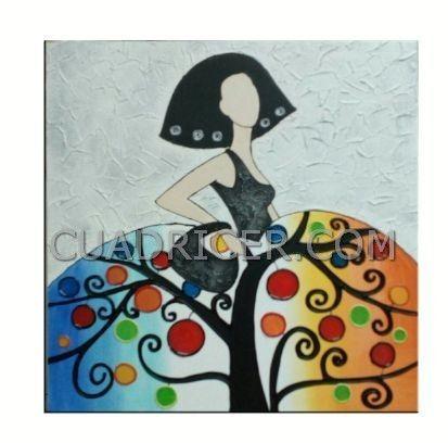 Cuadro menina falda con arbol d ela vida 2330 pintado en - Cuadros estilo moderno ...