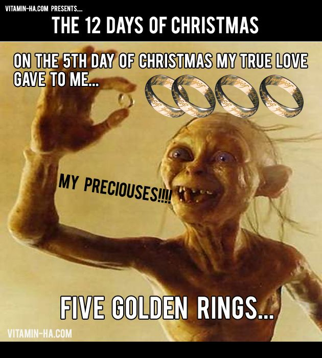 On The Fifth Day Of Christmas Funny 12 Days Of Christmas Hobbit Funny 12 Days Of Christmas Gollum Funny