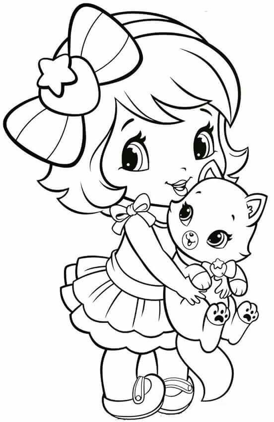 Coloring Pages Little Girl Dibujos en tela, Dibujos
