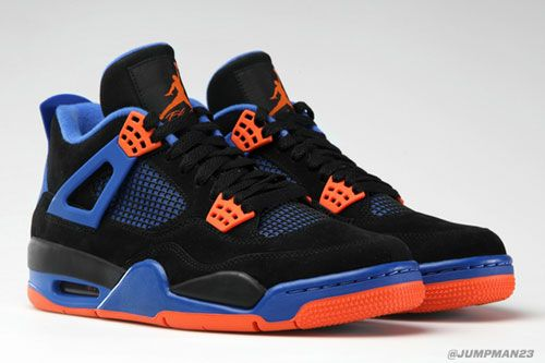 "f674e6d54675d7 Air Jordan 4  Cavs  Men Shoes People are stuck on whether to call these the  ""Cavs"" or ""Knicks"" colorway. The blue orange color blocking can be  confusing to ..."