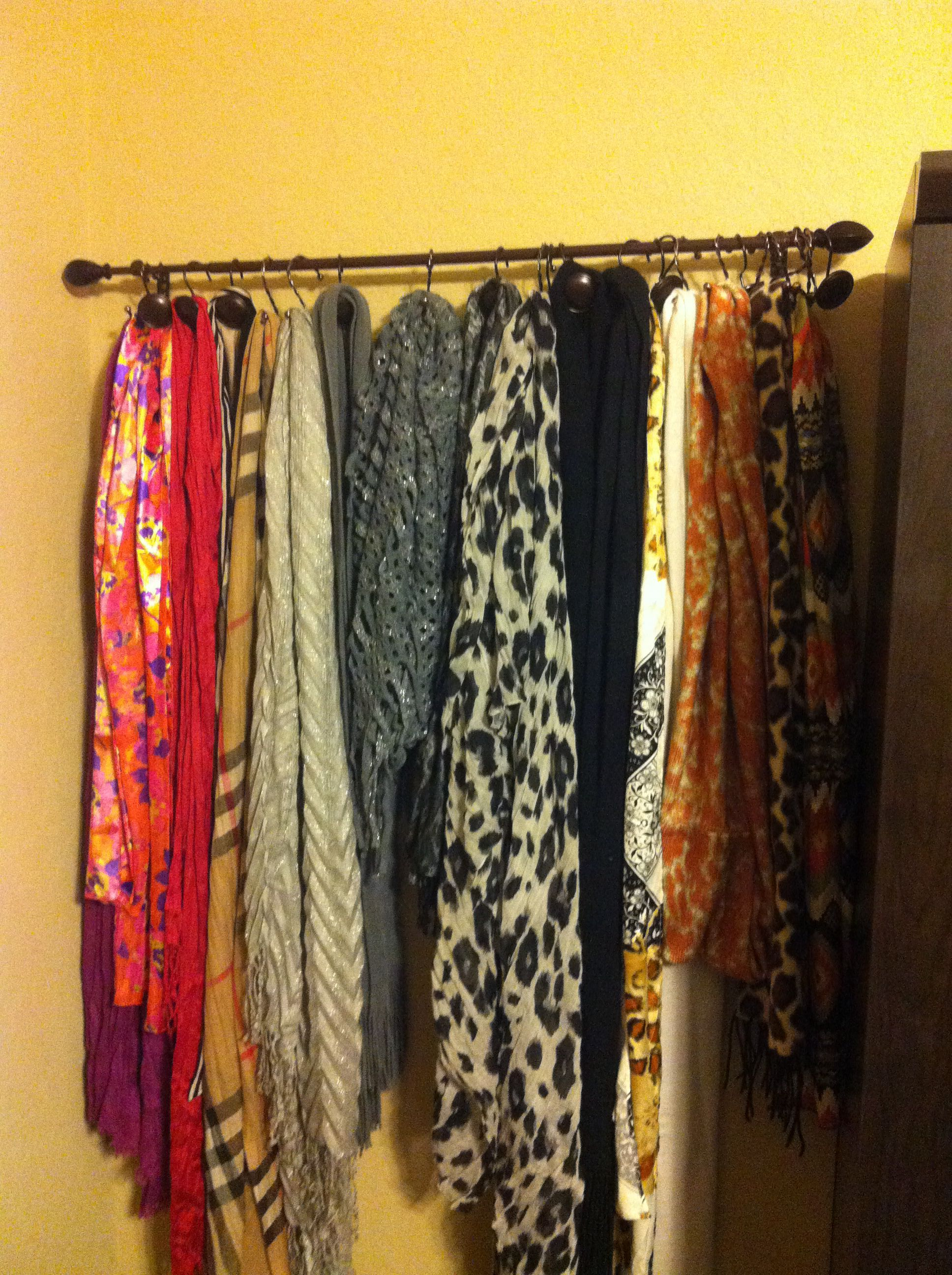 Scarf Organizer Simple Easy And Cheap Curtain Rod 4 99 Ross Fishkind Shower Hooks 3 99ross Fun Di Scarf Organization Diy Organization Room Organization