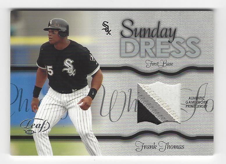 2004 leaf baseball frank thomas 3 color jersey patch ed