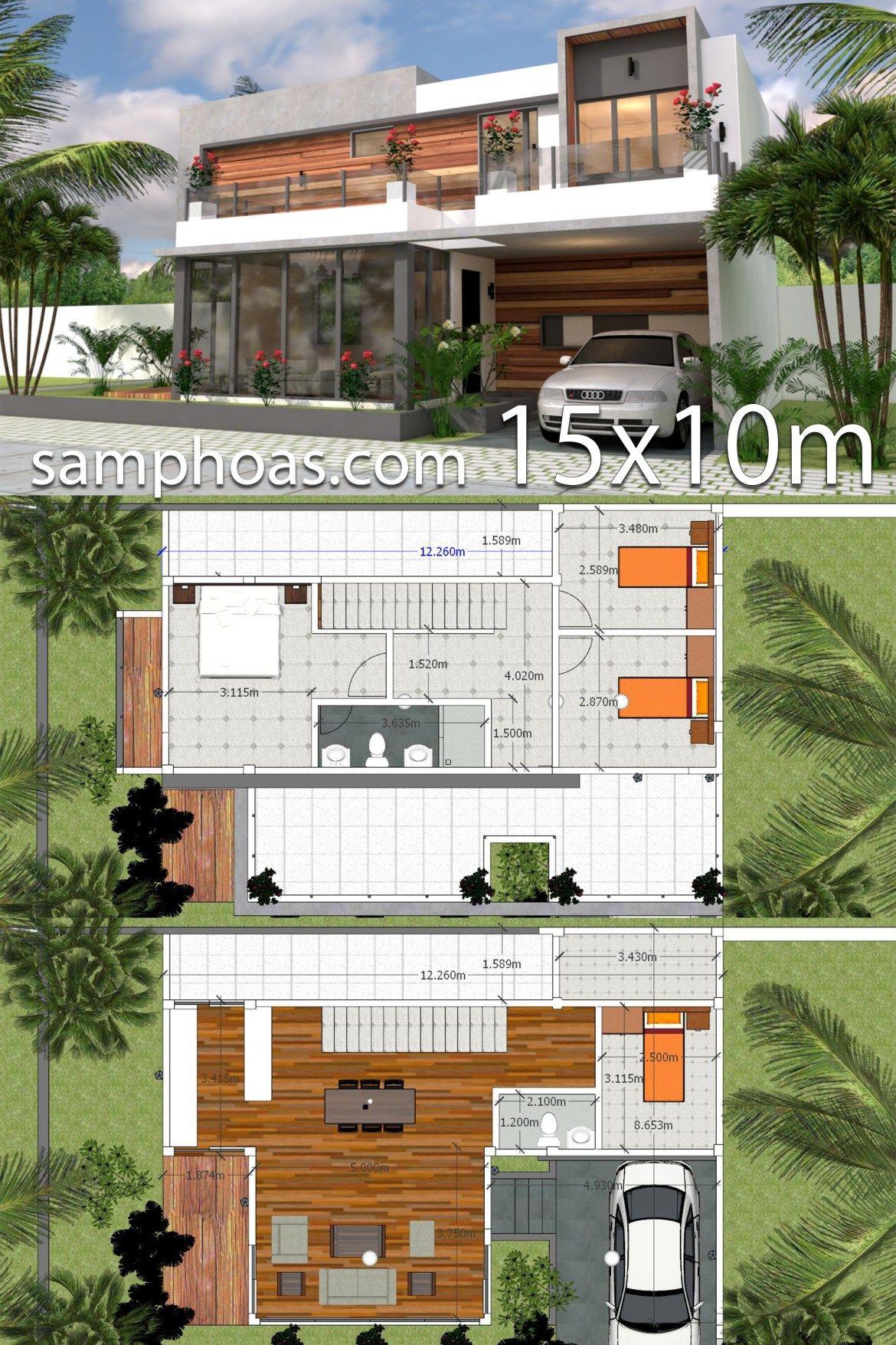 Plan 3d Home Design 15x10m 4bedrooms Samphoas Plansearch House Plans Modern House Floor Plans 3d Home Design