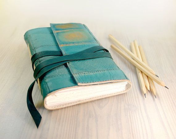 Journal  Turquoise Leather Art Journal Notebook Diary  by Baghy, $56.00