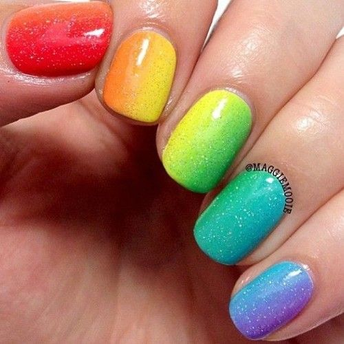 Rainbow nails - OMG!! Love these!! - Rainbow Nails - OMG!! Love These!! Hair, Makeup, Glasses And Maybe