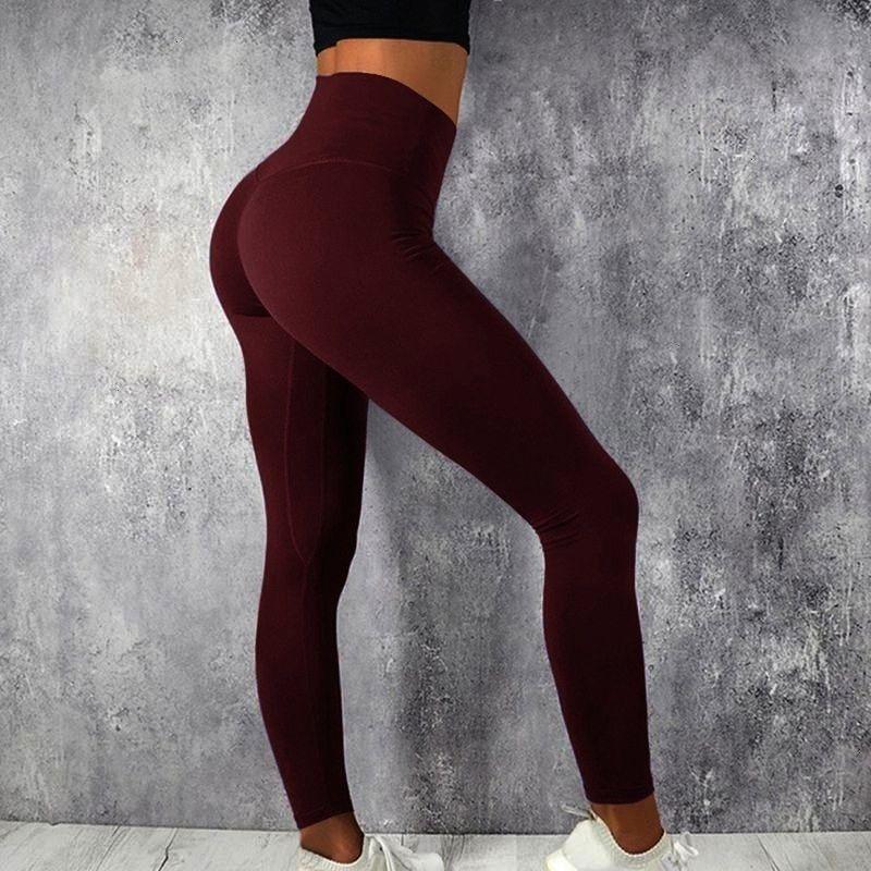 #plusdihope #burgundy #leggings #gagodeal #splicing #actually #elastic #scrunch #darkred #fitness #r...