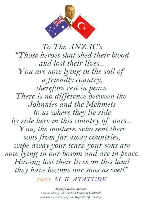 Mustafa Ataturku0027s famous letter to honour Anzac diggers who fought - country of origin letter