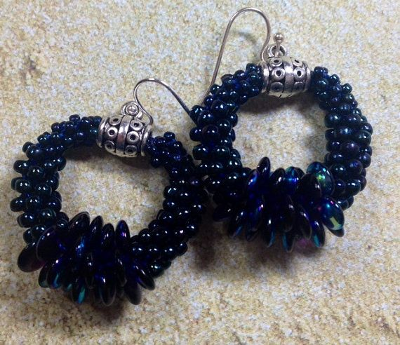 Beaded Kumihimo Earrings with lentil beads, czech glass