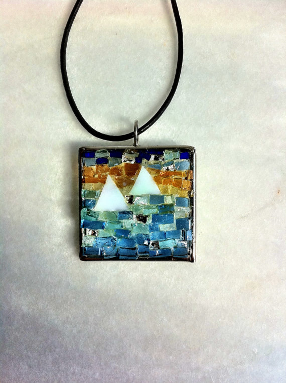Glass sailboats mosaic pendant by Albedomosaics on Etsy, $50.00