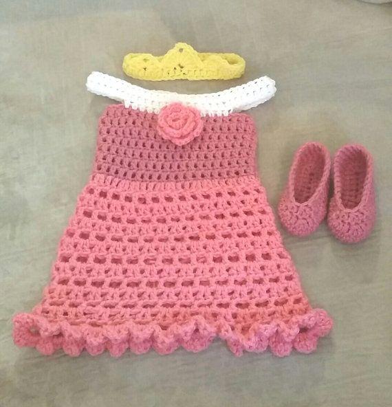 Custom Crochet Disney Inspired Sleeping Beauty Dress Set on Etsy ...
