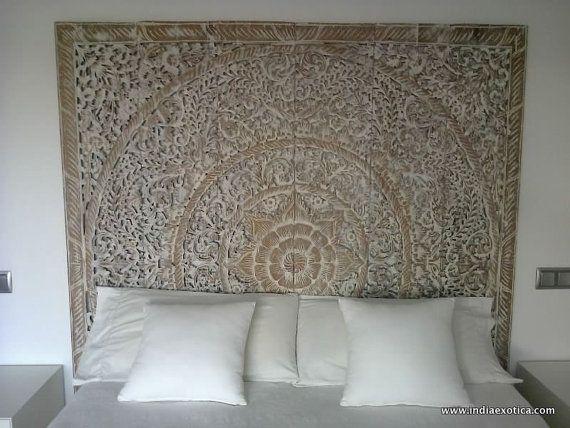 Geschnitzte Teak Wand hängen Bett Kopfteil weiß von IndiaExotica - kopfteil fur bett wanddeko schlafzimmer