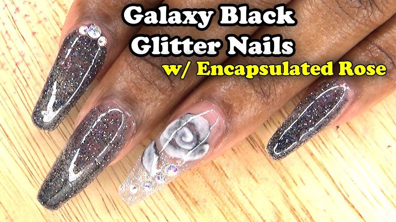 Galaxy Black Glitter Nails w/ Encapsulated Rose | Acrylic Nails w ...