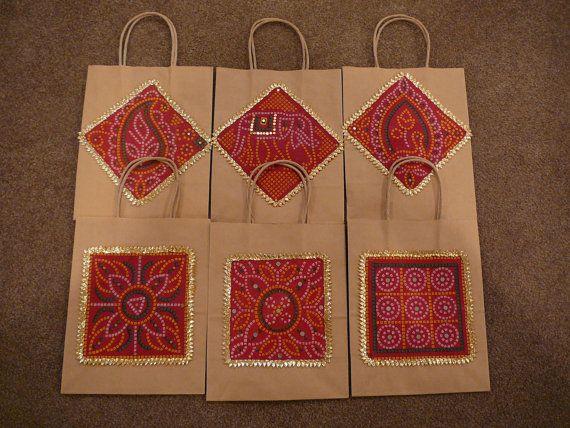 Gift Bags, Indian Wedding Gift Bags, Kraft Gift Bags, Red Bags ...