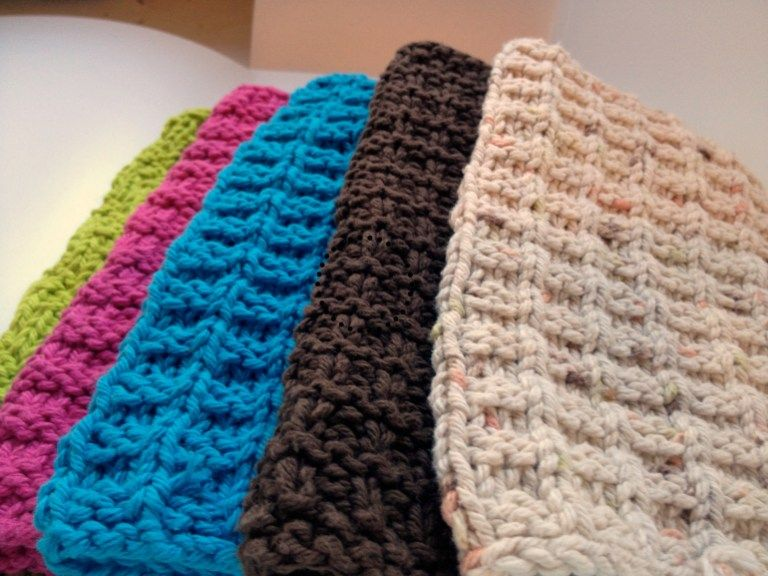 Knit Washcloth Pattern Easy Knitted Cotton Dishcloth ...