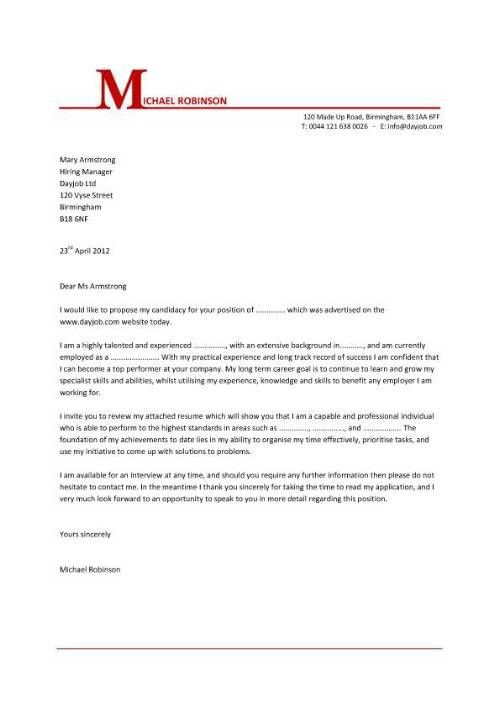 job covering letter templates
