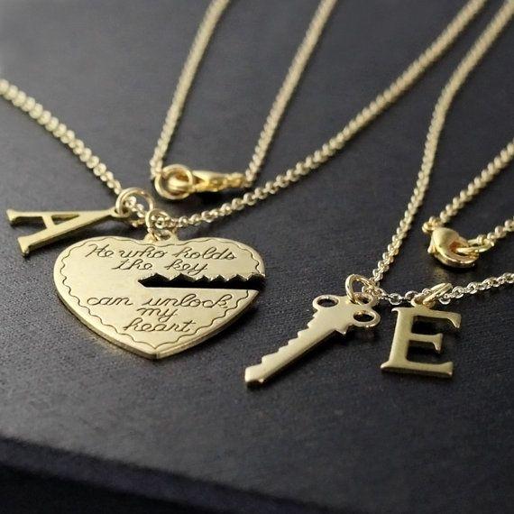 Boyfriend Girlfriend Gift He Who Holds The Key Gold Necklace Etsy Heart Key Necklace Girlfriend Gifts Boyfriend Gifts