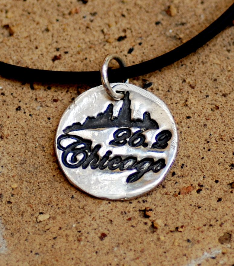 Chicago Marathon Necklace in Fine Silver on a Black Rubber Cord
