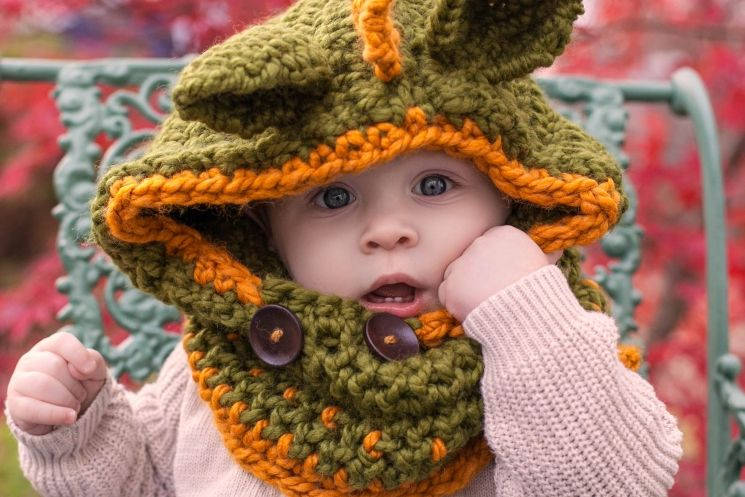 4a703e997a9 Loom Knit Dragon Hood PATTERN. PDF Download. Sized for 9 mos to adult.