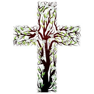 floral christian cross, tree shape on a white background