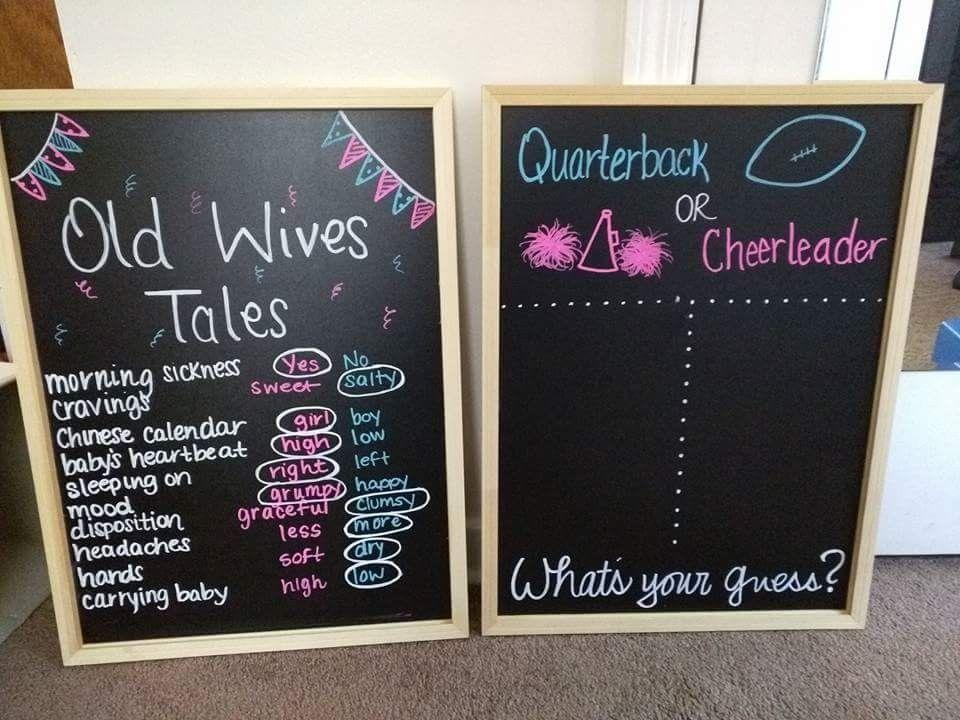 Gender Reveal Chalkboards Old Wives Tales Quarterback Or