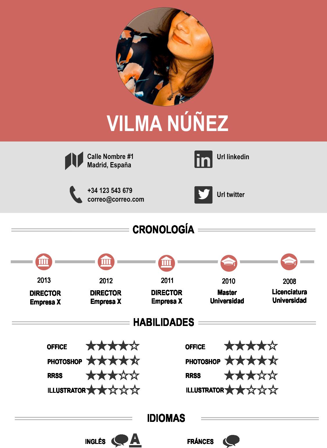 Ejemplo de CV infográfico vía Vilma Nuñez | Board | Pinterest | Cv ...