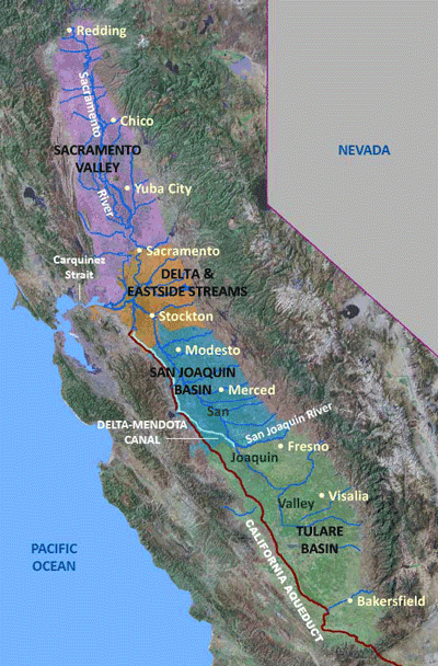 Map Of California Central Valley.Map Of The Four Central Valley Subregions School Stuff Central
