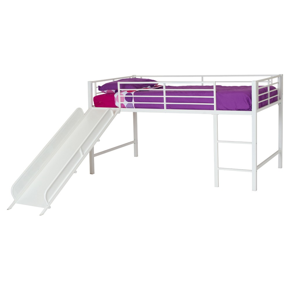 Kids metal loft bed with slide  Junior Loft Bed with Slide  White  Dhp  Lofts and Products