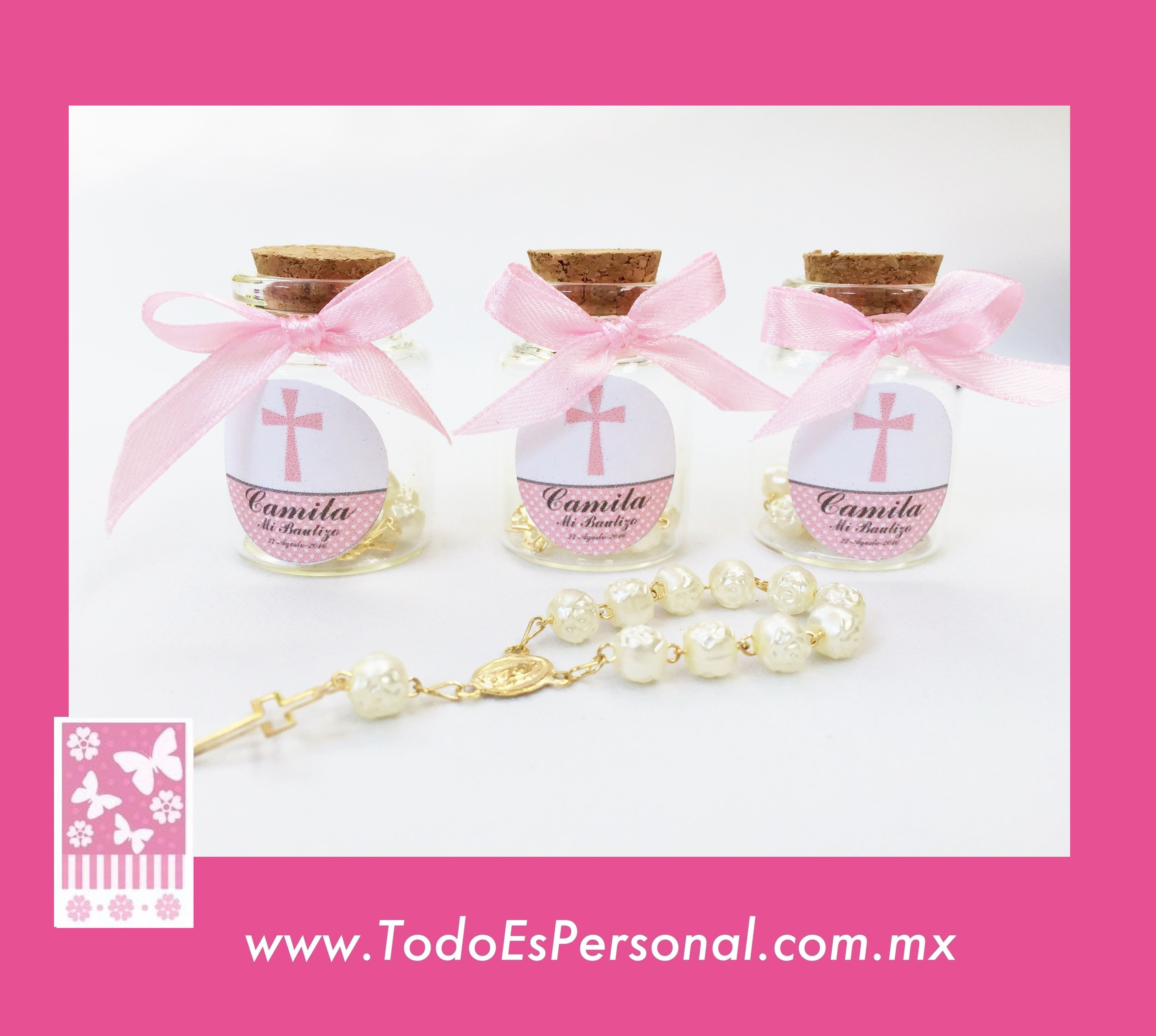 Recuerdos para bautizo de ni a decenarios en frasco con for Recuerdos para bautizo nina