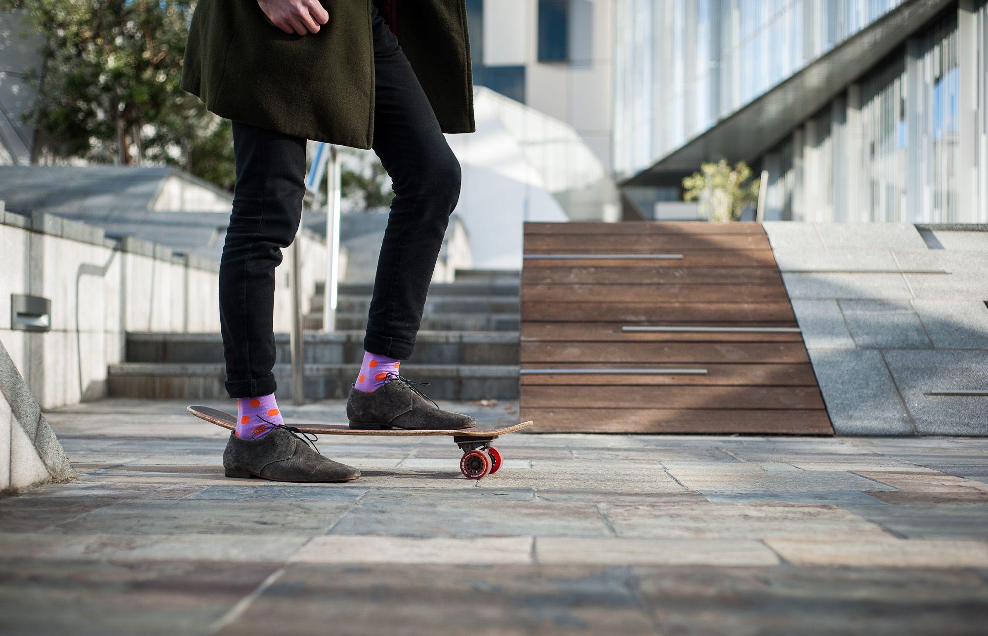 Spot Sock purple & orange from online men's fashion shop www.rockmysocks.com. Great range of patterned coloured unique men's socks. Free shipping to Australia, only five dollars international post.