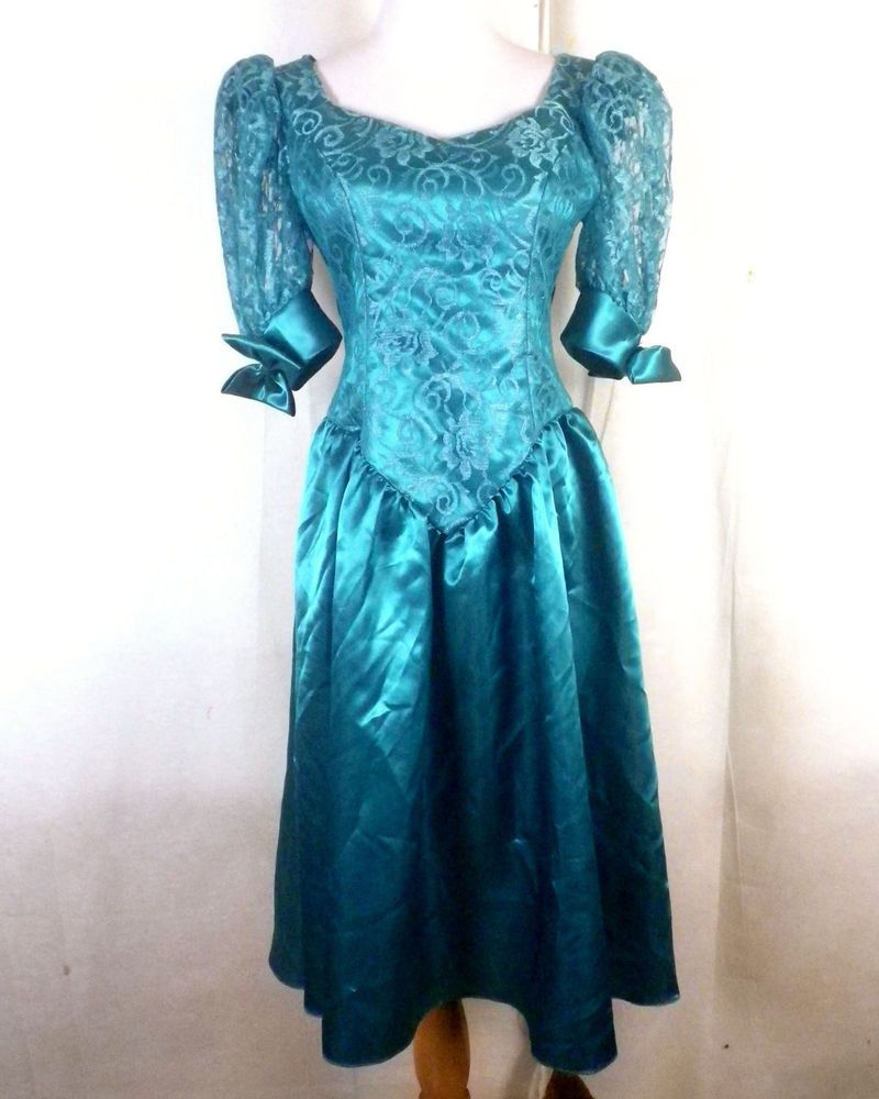 vtg 80s CLASSIC aqua blue Puffy Princess Shoulder Sleeve Formal ...