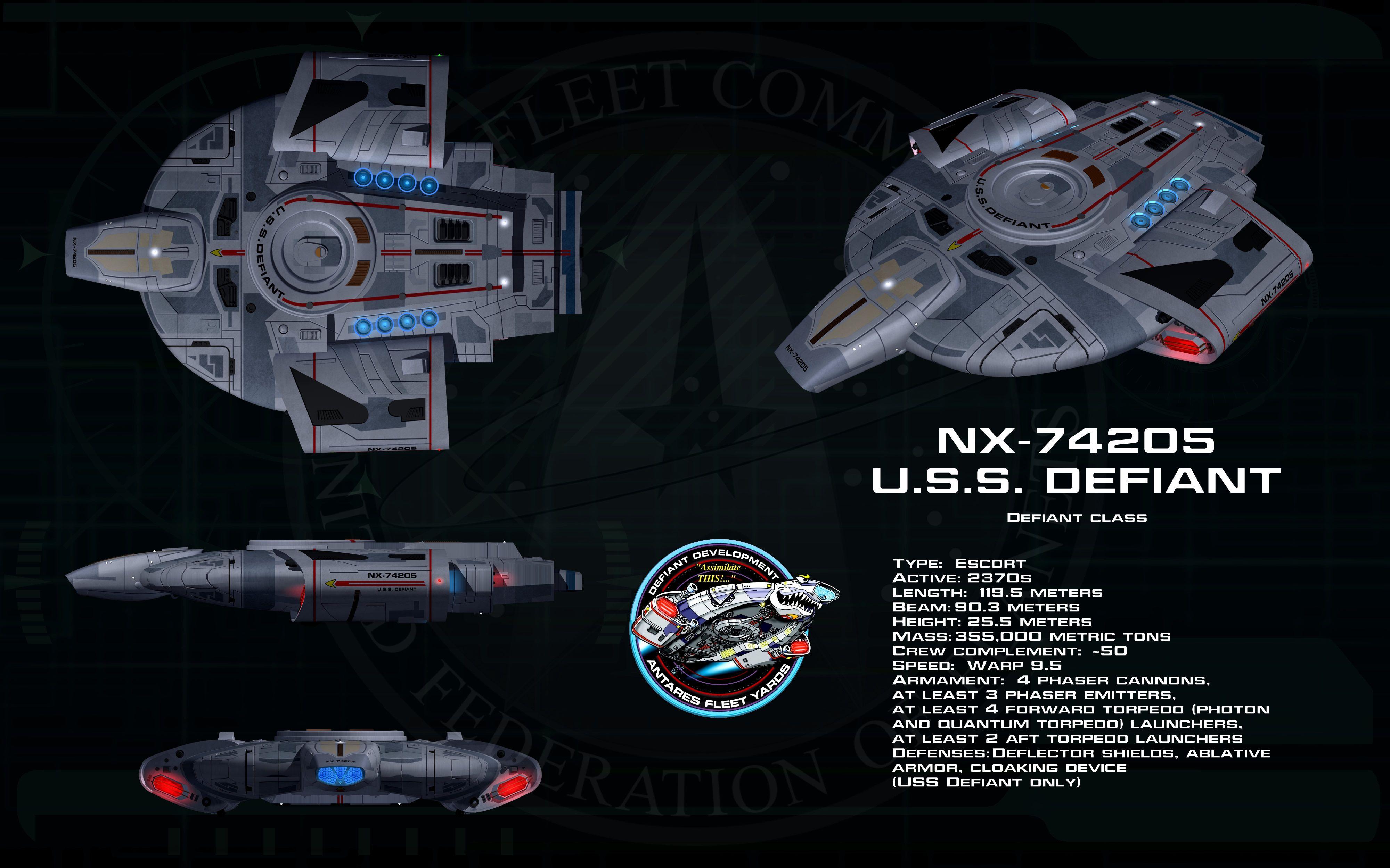 Defiant class ortho - USS Defiant by unusualsuspex.deviantart.com on @deviantART
