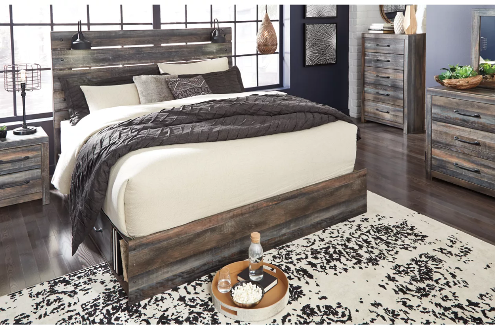Drystan Queen Panel Bed with 4 Storage Drawers in 2020